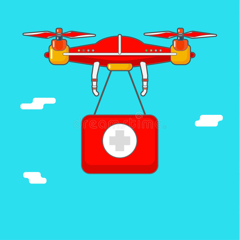 Download Quadcopter Aerial Drone Delivery Of Cargo Stock Vector