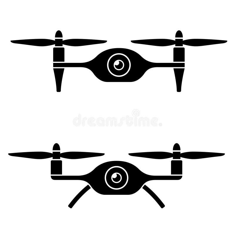 Quadcopter do zangão de Rc com símbolo do preto da câmera ilustração do vetor