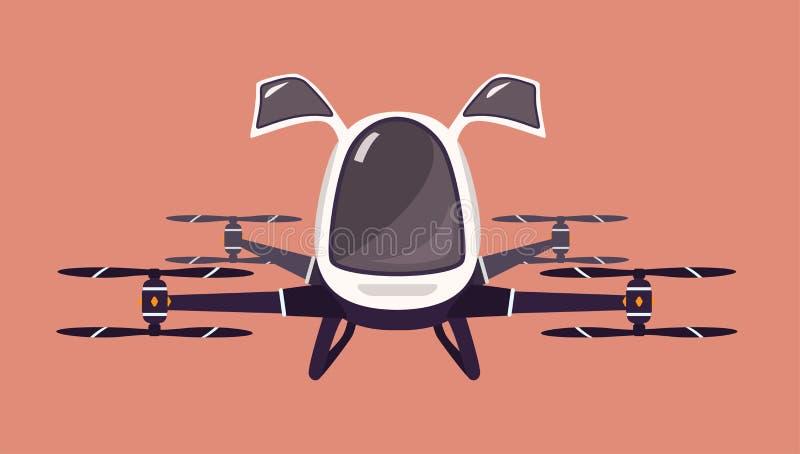 Quadcopter do zangão ou do passageiro do táxi Veículo futurista de voo do rotor Aviões bondes 2nãos pilotado modernos ou automati ilustração stock