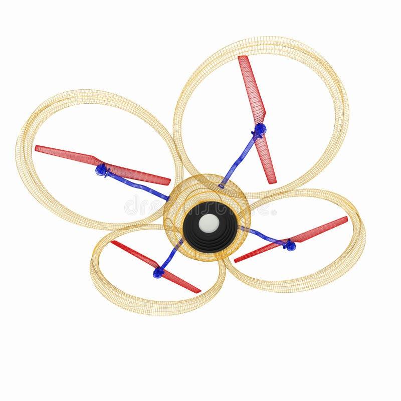 Quadcopter Dron. 3d render. The Quadcopter Dron. 3d render stock illustration