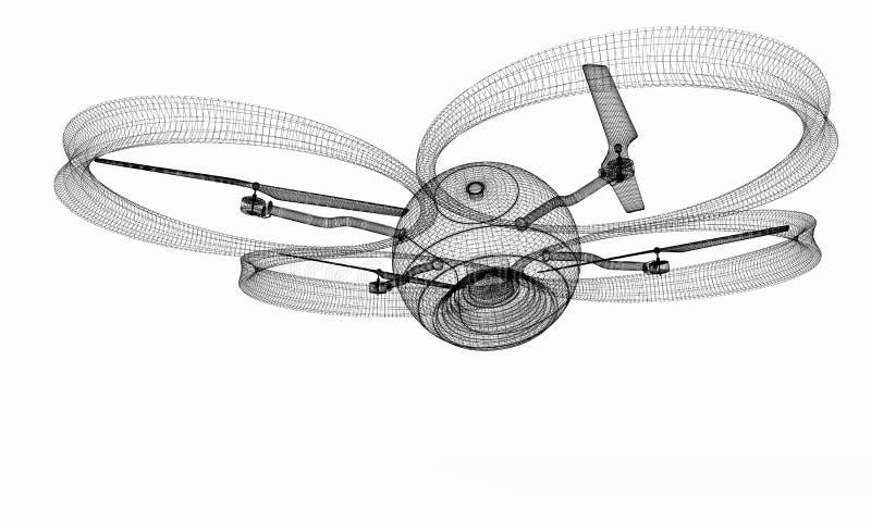 Quadcopter Dron. 3d render. The Quadcopter Dron. 3d render royalty free illustration