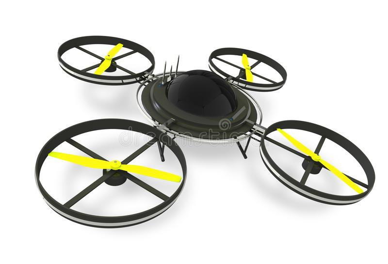 Quadcopter Dron Isolated. On White Background. Remote Aircraft Technology. 3D Render Illustration royalty free illustration