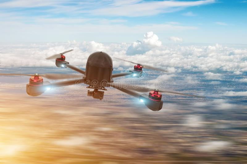 Quadcopter drone with digital camera hovering over city stock photo