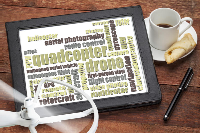 Quadcopter drone word cloud stock images