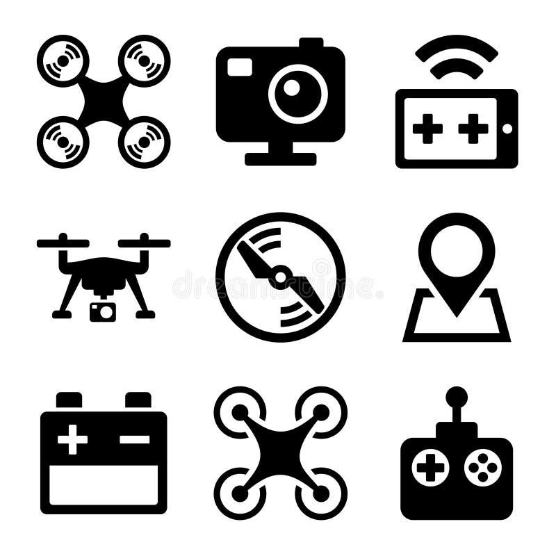 Quadcopter e os ícones do zangão ajustaram-se no fundo branco ilustração royalty free