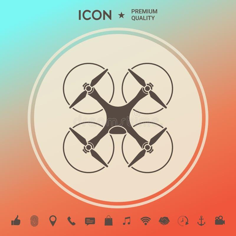 Quadcopter, latająca truteń ikona ilustracji