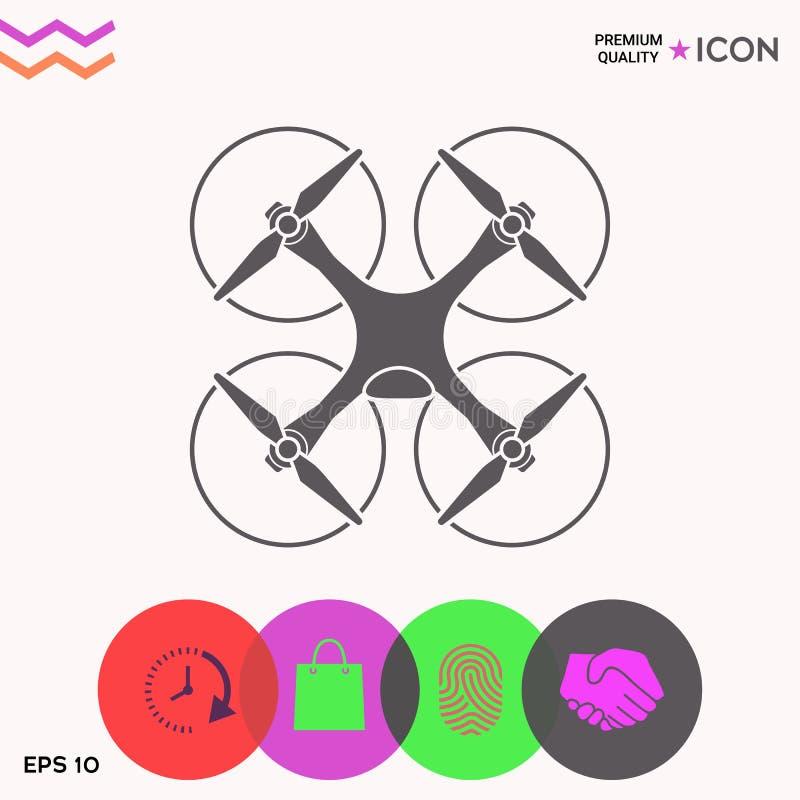 Quadcopter, latająca truteń ikona ilustracja wektor