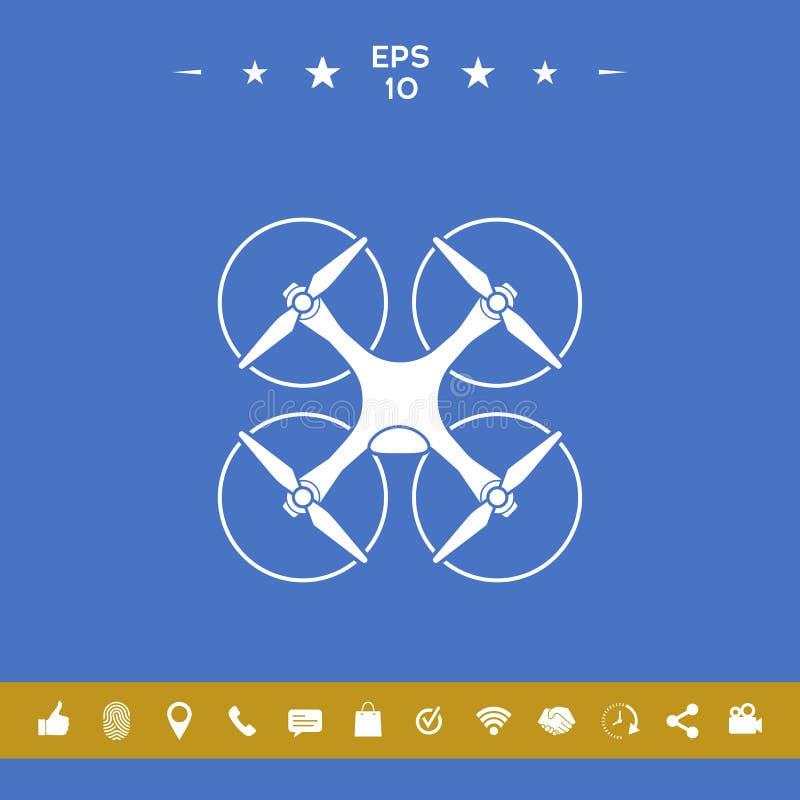 Quadcopter, latająca truteń ikona royalty ilustracja