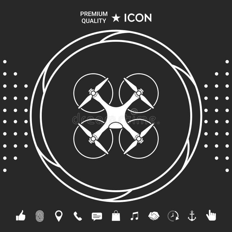 Quadcopter, latająca truteń ikona Graficzni elementy dla twój designt ilustracji