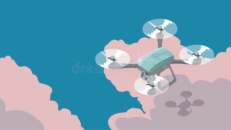 Quadcopter que voa no céu, ilustrações isométricas lisas do zangão do vetor 3d ilustração royalty free