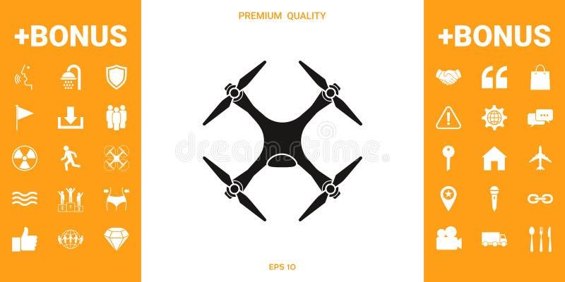 Quadcopter, truteń ikona ilustracji