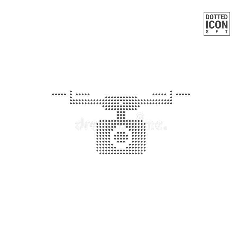 Quadcopter, truteń kropki wzoru ikona Latającej kamery Kropkowana ikona Odizolowywająca na bielu Wektorowy tła lub projekta szabl ilustracja wektor