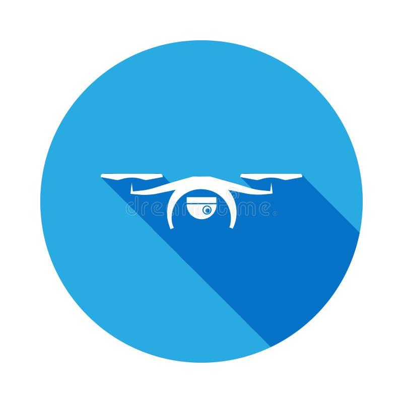 quadcopter truteń z kamery ikoną z długim cieniem Elementy kontrolowana samolot ikona Znaki, konturów symboli/lów kolekci ikona ilustracja wektor