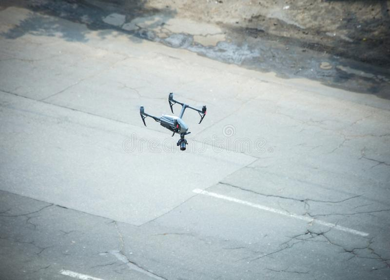 Quadcopter UAV`s Drone for commercial aerial photography flying stock photos