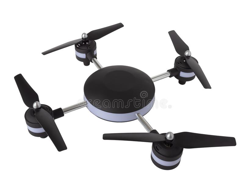Dron on a white background, quadrocopter isolate. Quadcopter on a white background. Black and white unmanned aerial vehicle with four screws. Isolate.nn stock illustration
