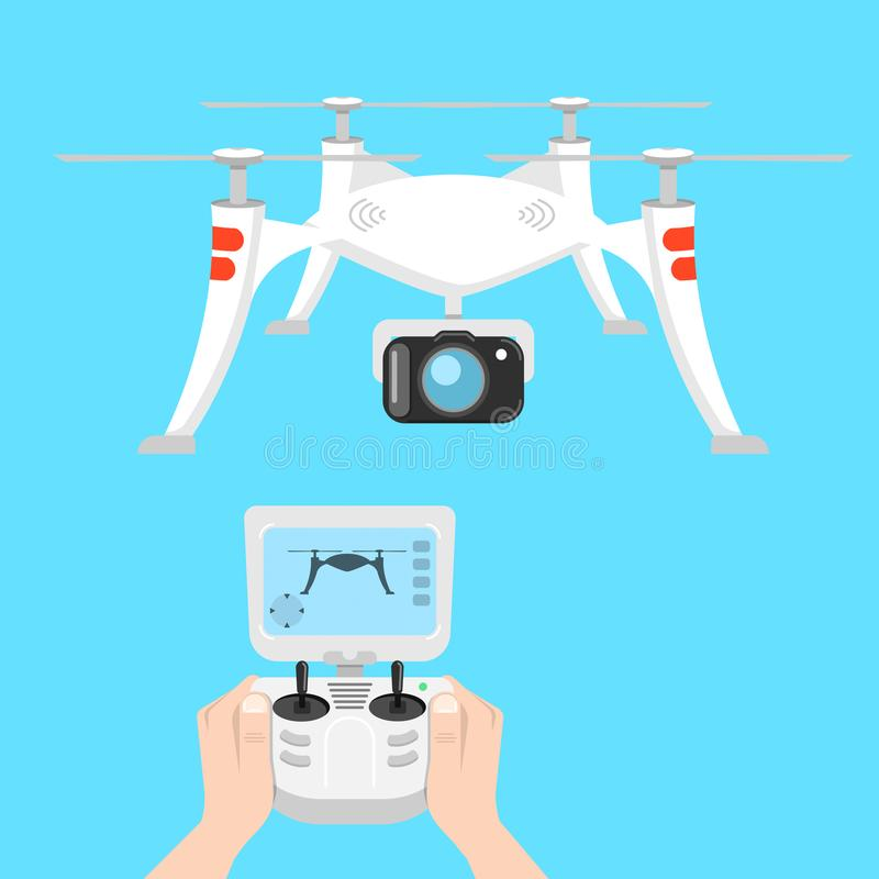Quadcoptercontrole, hommelsbeeld royalty-vrije illustratie