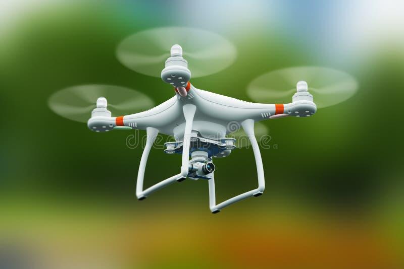 Quadcopterhommel met 4K videocamera die in de lucht vliegen royalty-vrije illustratie