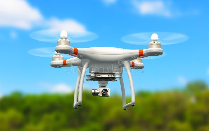 Quadcopterhommel met 4K videocamera die in de lucht vliegen vector illustratie