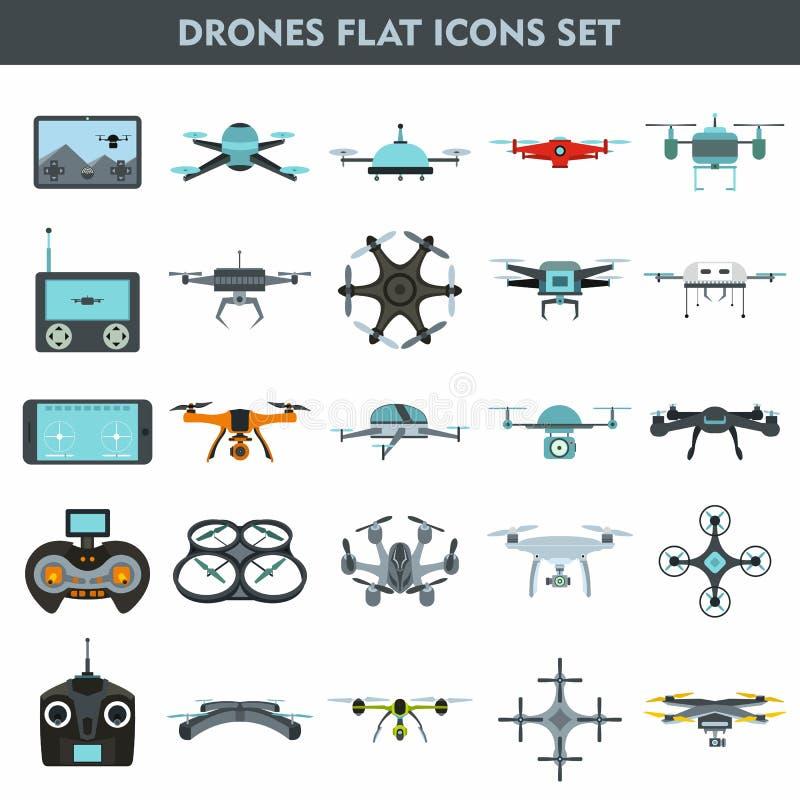 Quadcopters e de fiscalização e de entrega dos zangões dispositivos 25 lisos ilustração do vetor