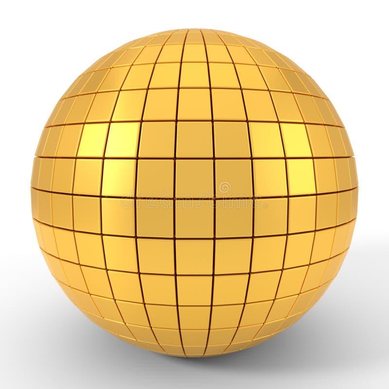 Quadgon shapes plated golden sphere. 3d illustration royalty free illustration