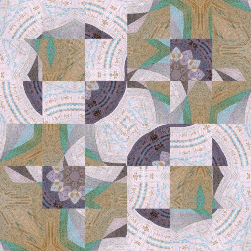 Quadra il mosaico con effetto della struttura per l'insegna o la carta nei colori pastelli illustrazione di stock