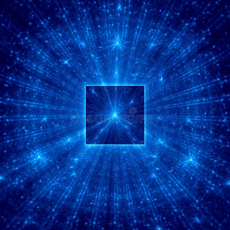 Quadrado abstrato azul com raios azuis imagens de stock royalty free