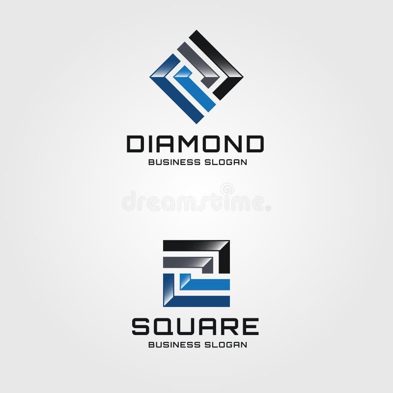 Quadrado abstrato Logo Template ilustração stock