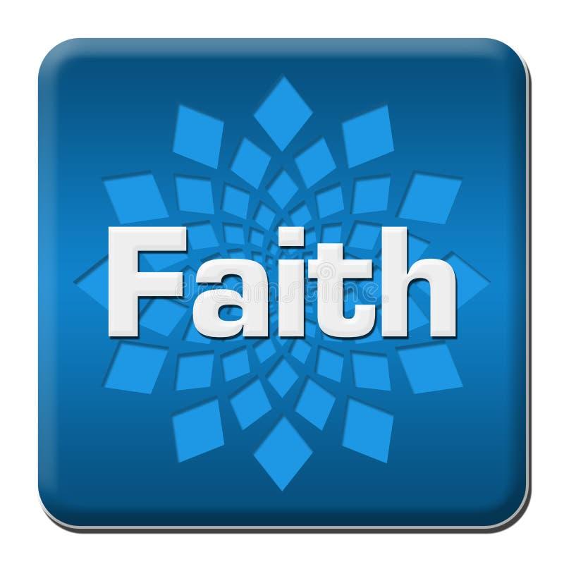 Quadrado arredondado azul da fé com elemento ilustração stock