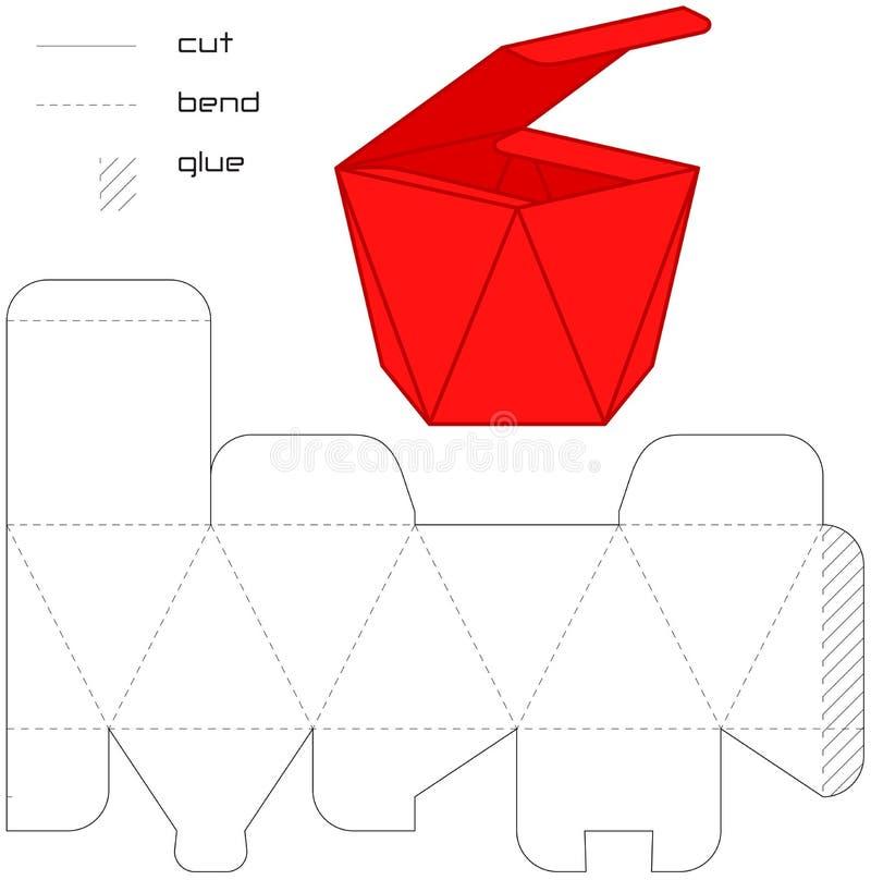 Quadrado atual do corte do vermelho da caixa do molde   ilustração do vetor