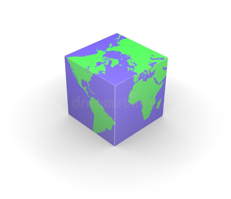 Quadrado cúbico do cubo da terra do globo ilustração royalty free