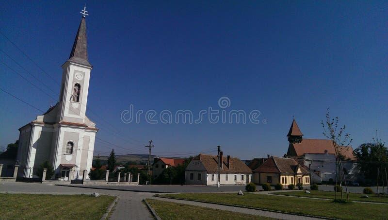 Quadrado central de Miercurea Sibiului imagens de stock royalty free