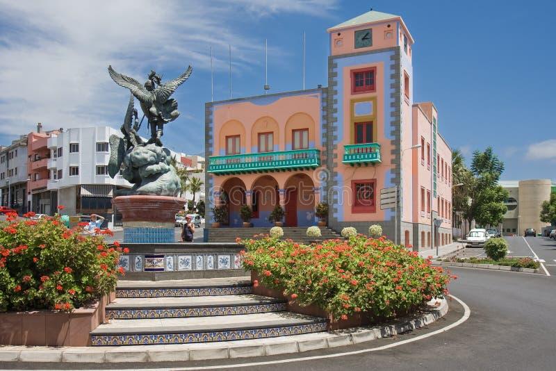 Quadrado central de Tazacorte no La Palma Island, Espanha das Ilhas Canárias fotografia de stock royalty free
