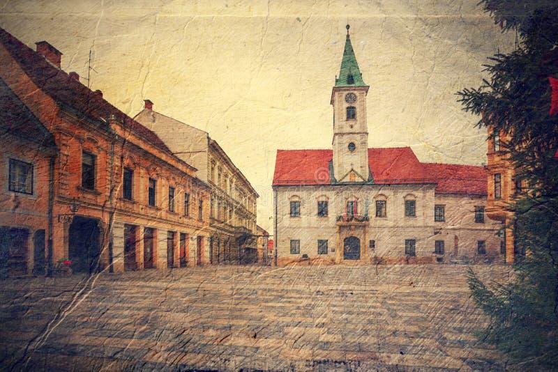 Quadrado central em Varazdin. Croácia. ilustração stock