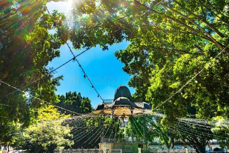 Quadrado central Oaxaca Juarez México de Zocalo do coreto mexicano fotos de stock royalty free