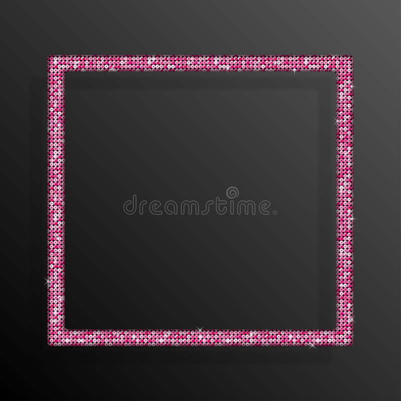 Quadrado cor-de-rosa das lantejoulas do quadro Brilho, faísca ilustração royalty free