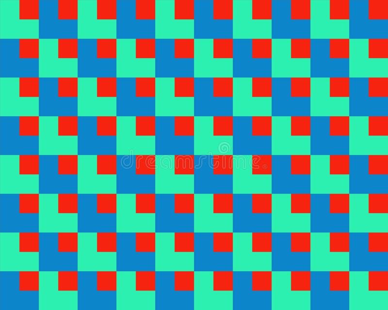 Quadrado da arte Op dentro do azul vermelho do verde dos quadrados ilustração do vetor