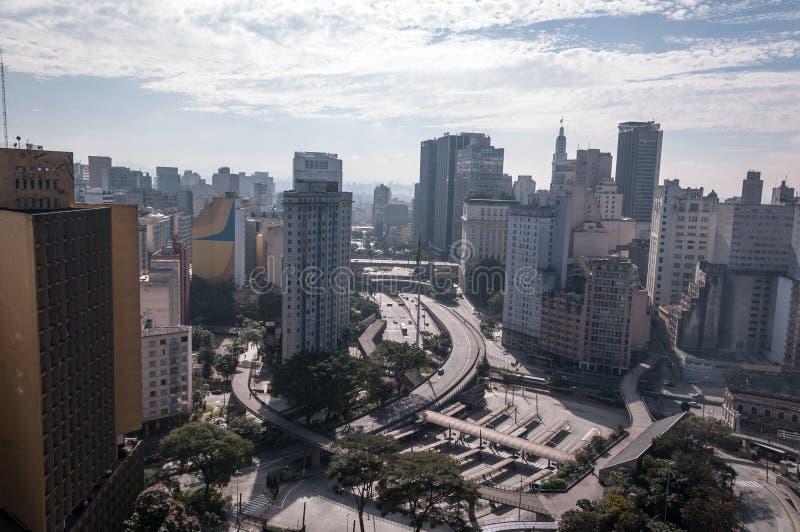 Quadrado da bandeira em Sao Paulo da baixa imagens de stock royalty free