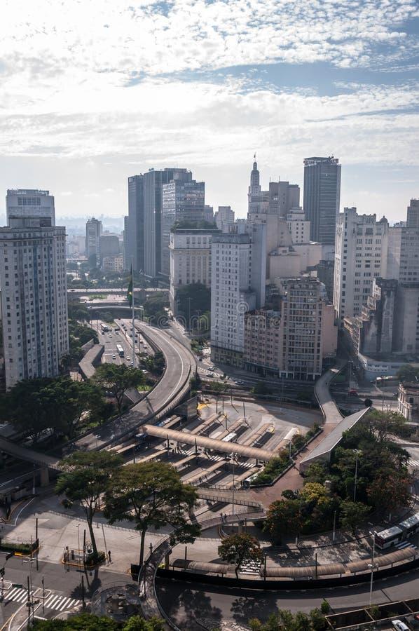 Quadrado da bandeira em Sao Paulo da baixa fotos de stock