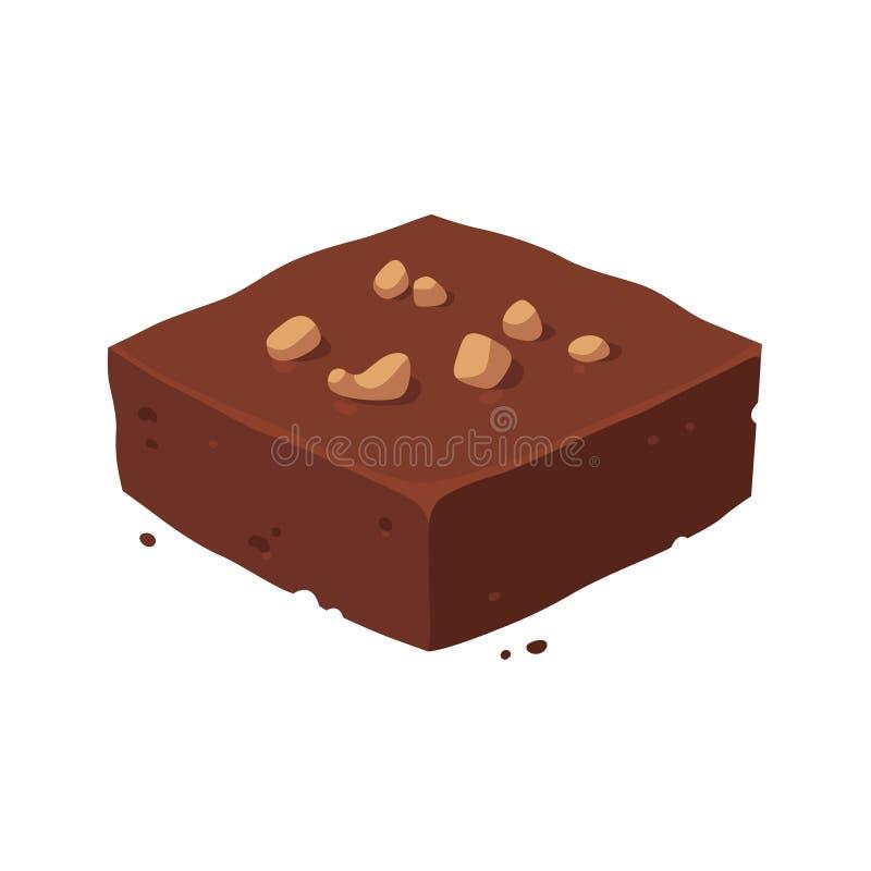 Quadrado da brownie do chocolate ilustração royalty free