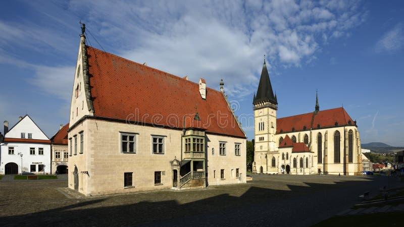 Quadrado da câmara municipal, Bardejov, UNESCO, Eslováquia fotos de stock royalty free