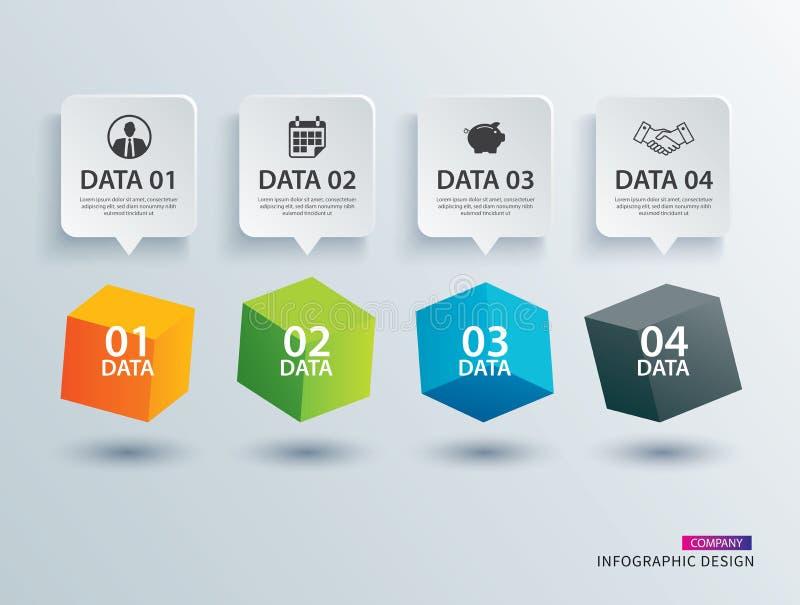 Quadrado da caixa de Infographics com molde de papel de 4 dados Illus do vetor ilustração stock