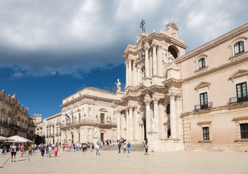 Quadrado da catedral, Siracusa, Sicília, Itália fotografia de stock