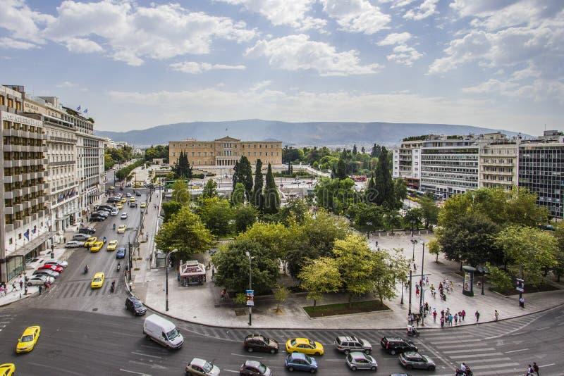 Quadrado da constituição do Syntagma, Atenas, Grécia fotos de stock royalty free
