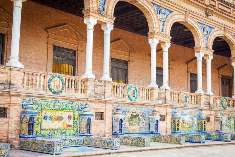 Quadrado da Espanha de Sevilha imagens de stock