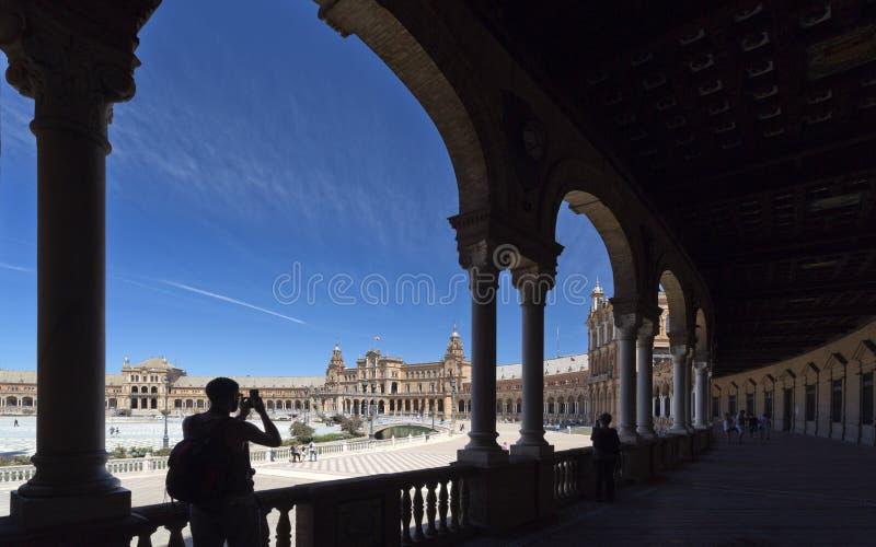 Quadrado da Espanha de Sevilha foto de stock