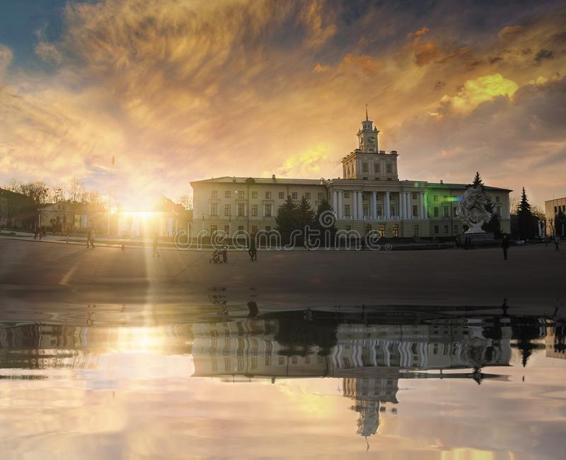 Quadrado da independência de Khmelnytskyy fotografia de stock
