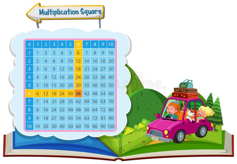Quadrado da multiplicação com pares em um carro ilustração stock