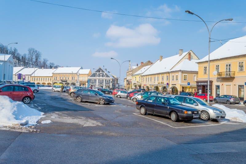 Quadrado da trindade santamente em Pozega fotos de stock