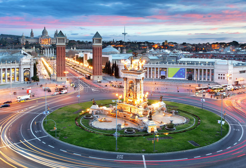 Quadrado de Barcelona - de Espana, Espanha fotografia de stock