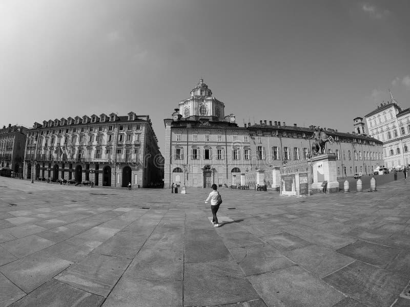 Quadrado de Castello da praça em Turin visto com fisheye no preto e no w foto de stock royalty free